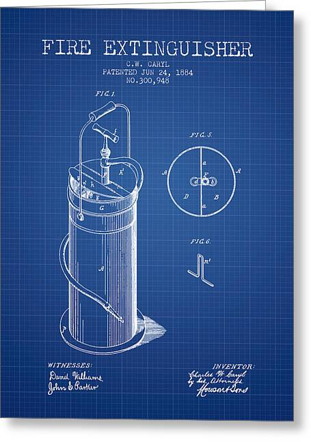 1884 Fire Extinguisher Patent - Blueprint Greeting Card by Aged Pixel
