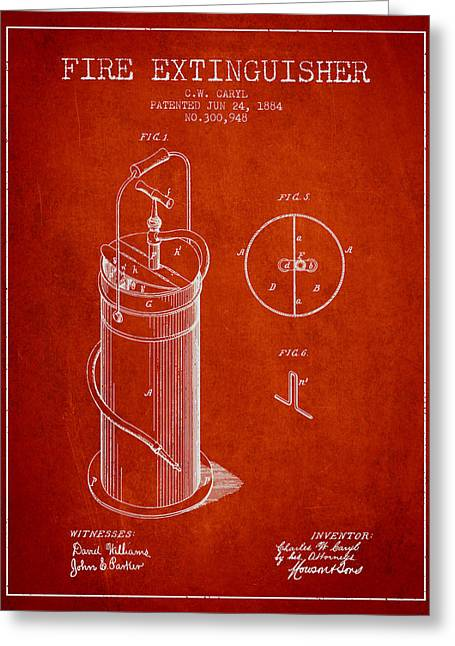 1884 Fire Extinguisher Patent - Red Greeting Card by Aged Pixel