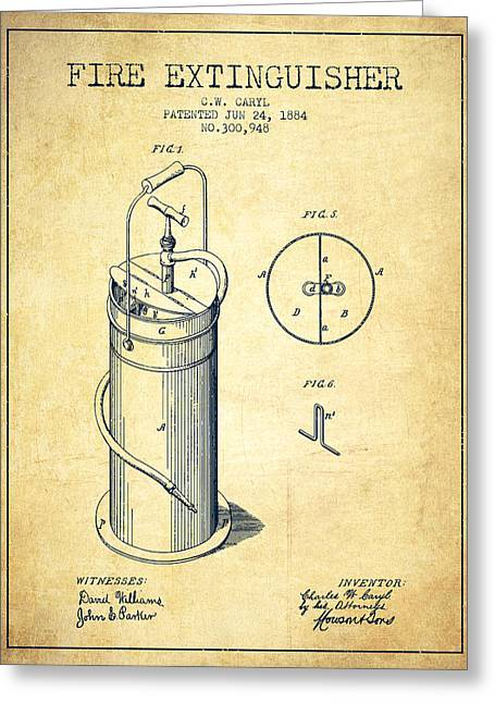 1884 Fire Extinguisher Patent - Vintage Greeting Card by Aged Pixel