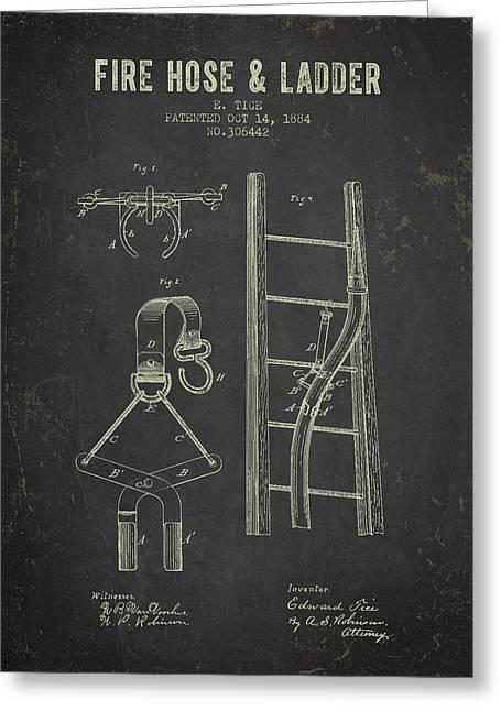 1884 Fire Hose And Ladder Patent- Dark Grunge Greeting Card