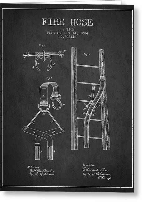 1884 Fire Hose Patent - Charcoal Greeting Card by Aged Pixel