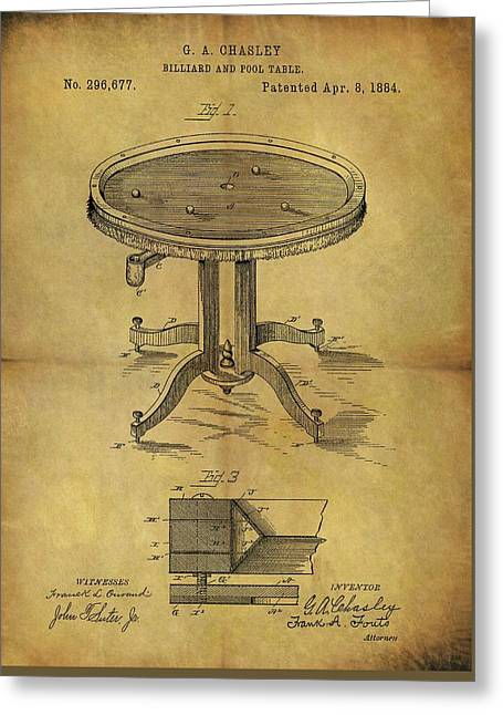 1884 Pool Table Patent Greeting Card by Dan Sproul