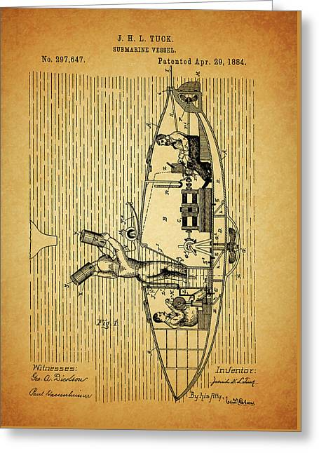 1884 Submarine Ship Patent Greeting Card by Dan Sproul