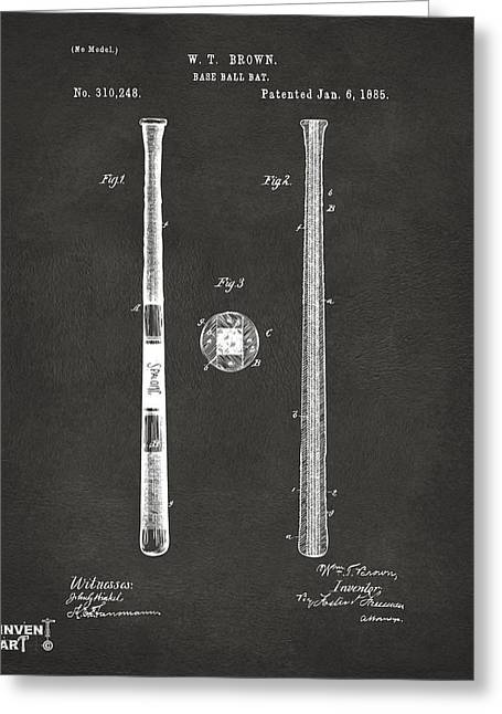 Player Drawings Greeting Cards - 1885 Baseball Bat Patent Artwork - Gray Greeting Card by Nikki Marie Smith