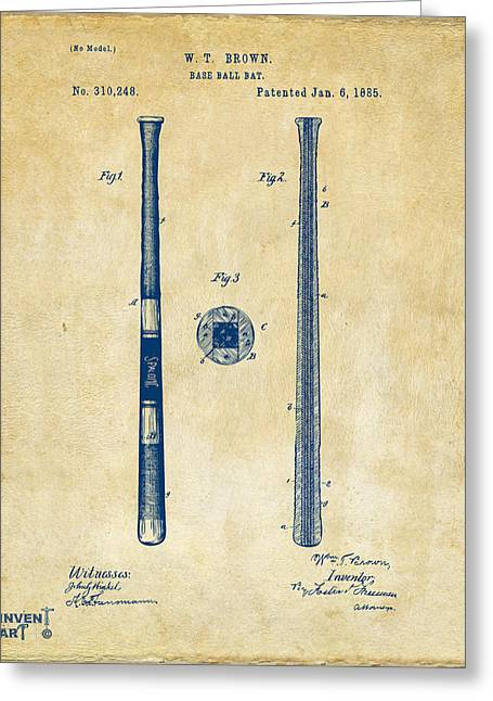 Player Drawings Greeting Cards - 1885 Baseball Bat Patent Artwork - Vintage Greeting Card by Nikki Marie Smith