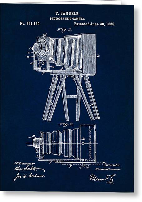 1885 Camera Us Patent Invention Drawing - Dark Blue Greeting Card