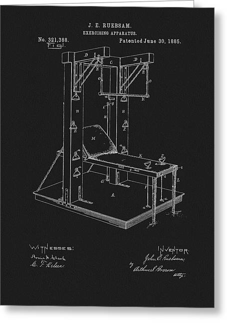 1885 Exercise Apparatus Equipment Greeting Card by Dan Sproul
