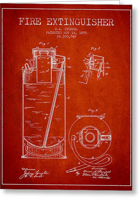 1885 Fire Extinguisher Patent - Red Greeting Card by Aged Pixel