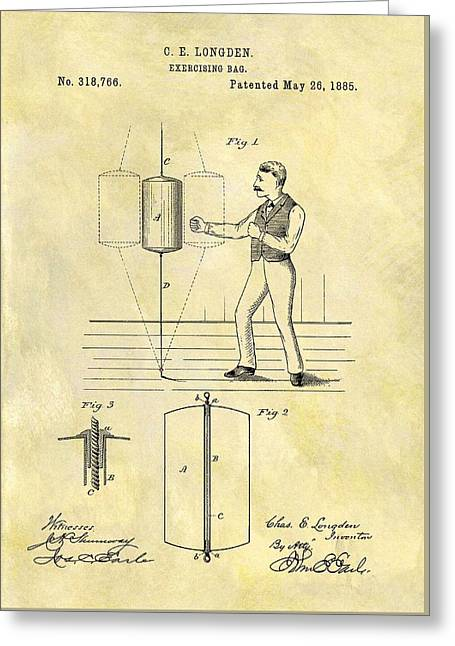 1885 Punching Bag Patent Greeting Card by Dan Sproul