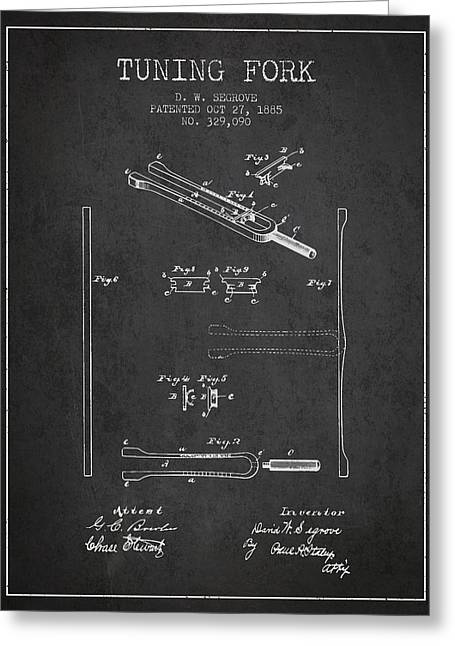 1885 Tuning Fork Patent - Charcoal Greeting Card