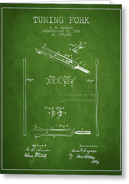 1885 Tuning Fork Patent - Green Greeting Card