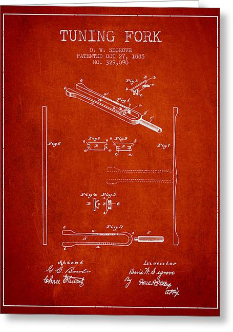 1885 Tuning Fork Patent - Red Greeting Card