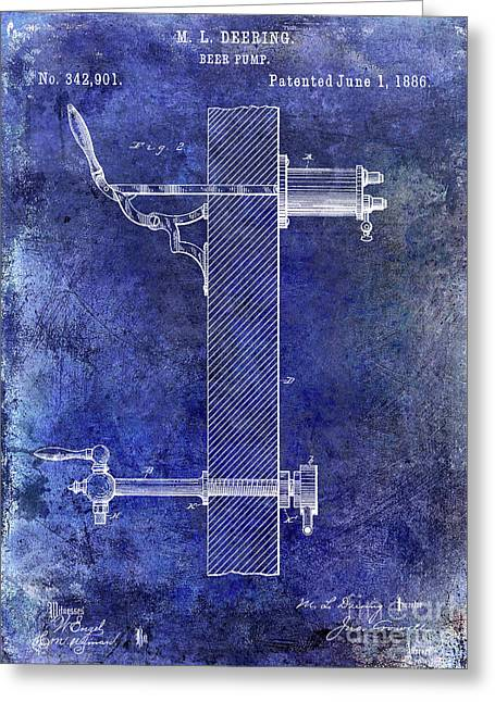 1886 Beer Pump Patent Blue Greeting Card
