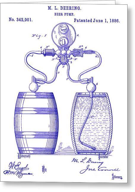 1886 Beer Pump Patent Blueprint Greeting Card