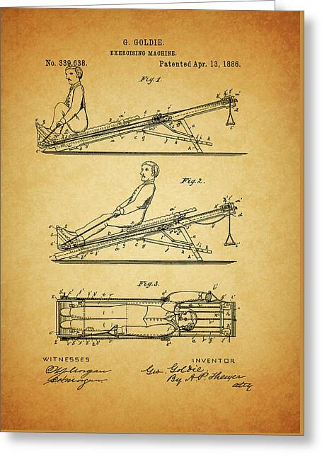 1886 Exercising Machine Patent Greeting Card by Dan Sproul