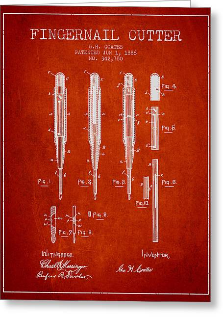 1886 Fingernail Cutter Patent - Red Greeting Card