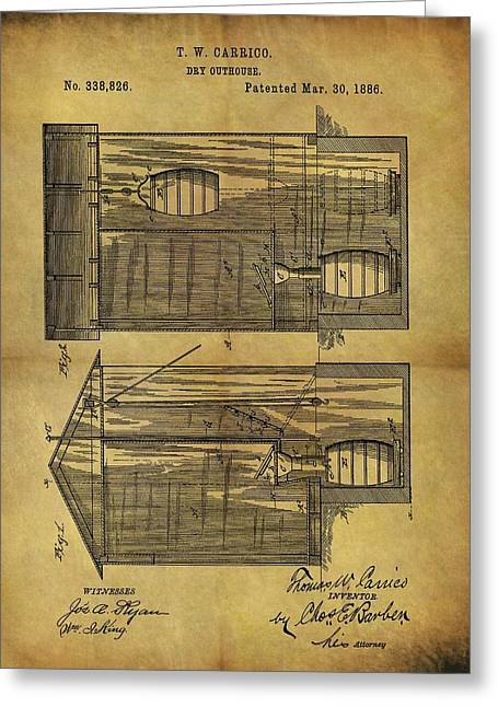 1886 Outhouse Patent Greeting Card by Dan Sproul