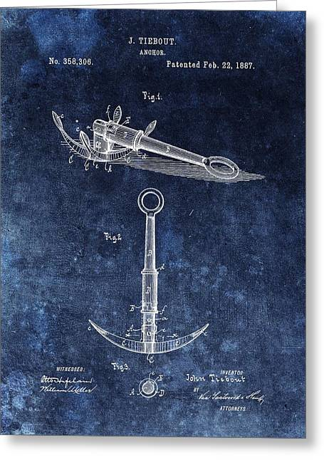 1887 Boat Anchor Patent Illustration Greeting Card by Dan Sproul