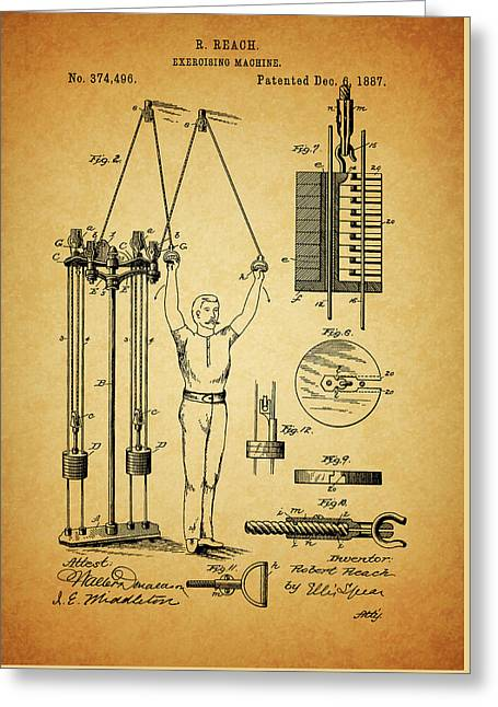1887 Exercising Machine Patent Greeting Card by Dan Sproul