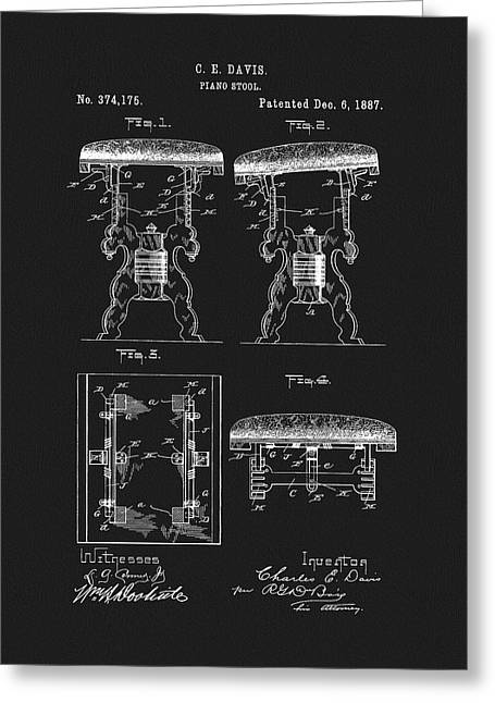 1887 Piano Stool Patent Greeting Card
