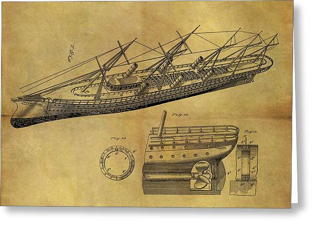 1887 Ship Patent Greeting Card by Dan Sproul