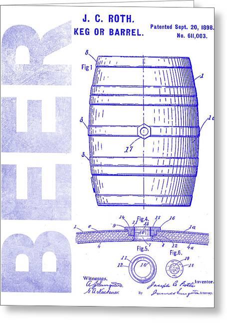 1889 Beer Barrel Patent Blueprint Greeting Card by Jon Neidert