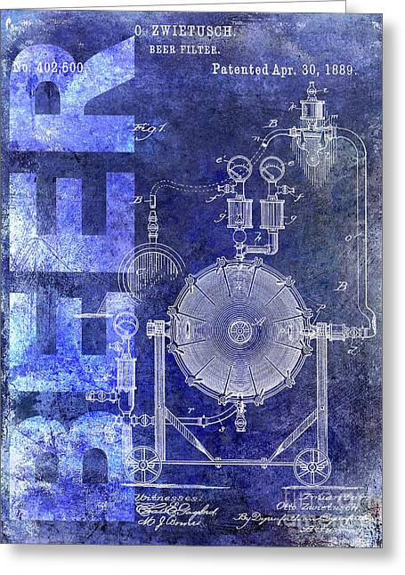 1889 Beer Filter Patent Blue Greeting Card