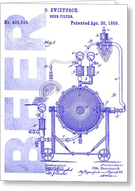 1889 Beer Filter Patent Blueprint Greeting Card