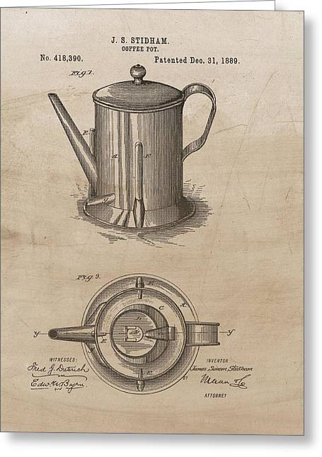1889 Coffee Pot Patent Illustration Greeting Card by Dan Sproul