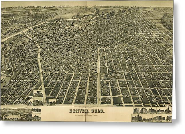 1889 Denver Colorado Map Greeting Card by Dan Sproul
