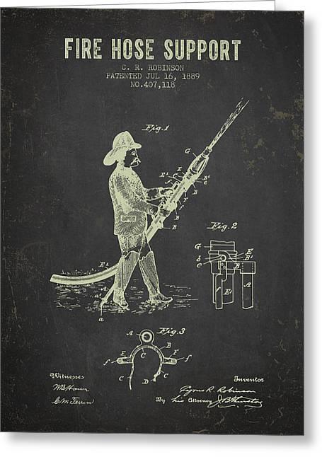 1889 Fire Hose Support Patent- Dark Grunge Greeting Card
