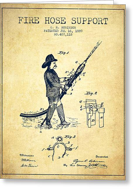 1889 Fire Hose Support Patent - Vintage Greeting Card