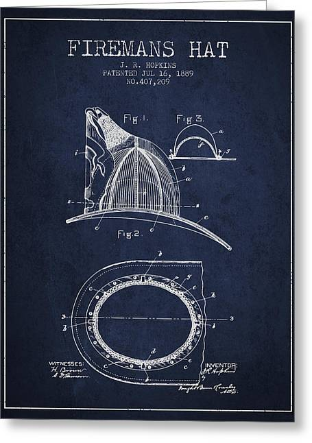 1889 Firemans Hat Patent - Navy Blue Greeting Card