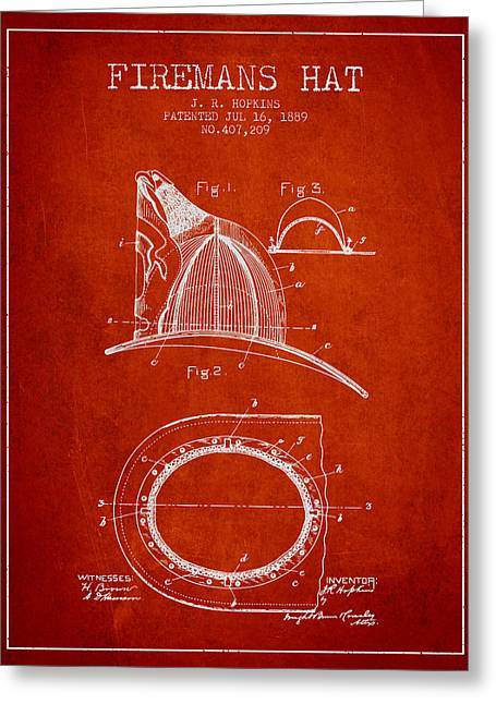 1889 Firemans Hat Patent - Red Greeting Card by Aged Pixel