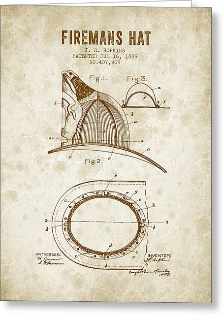 1889 Firemans Hat Patent - Vintage Grunge Greeting Card by Aged Pixel