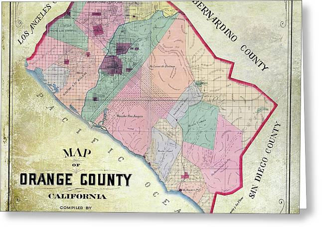 1889 Orange County California Map Greeting Card by Jon Neidert