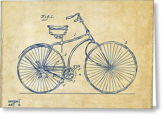 Conversations Drawings Greeting Cards - 1890 Bicycle Patent Minimal - Vintage Greeting Card by Nikki Marie Smith