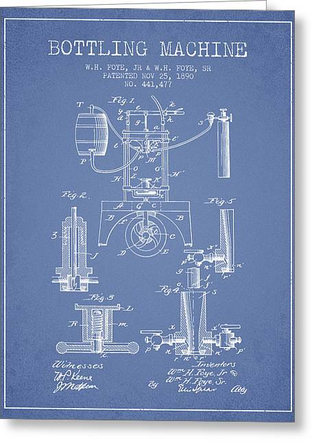 1890 Bottling Machine Patent - Light Blue Greeting Card