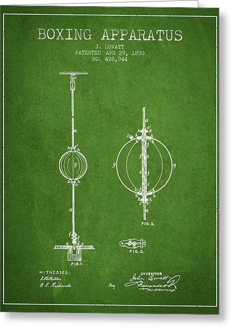 1890 Boxing Apparatus Patent Spbx17_pg Greeting Card by Aged Pixel