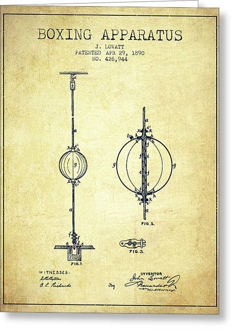 1890 Boxing Apparatus Patent Spbx17_vn Greeting Card by Aged Pixel
