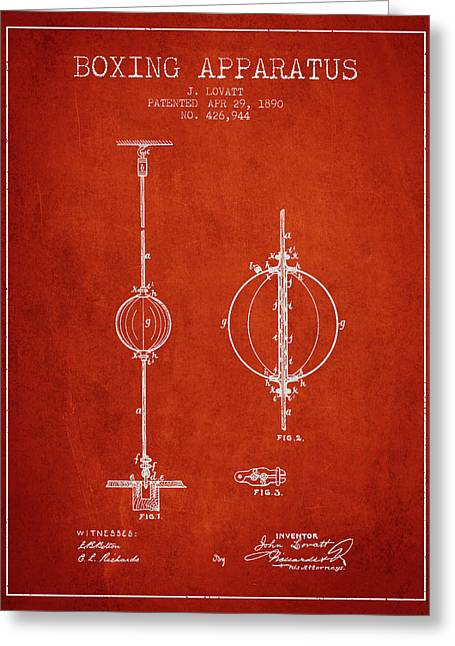 1890 Boxing Apparatus Patent Spbx17_vr Greeting Card by Aged Pixel