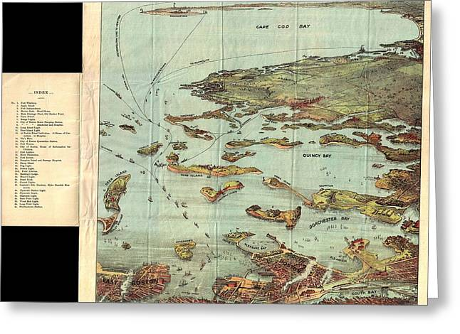 1890 View Map Of Boston Habor From Boston To Cape Cod And Provincetown  Greeting Card