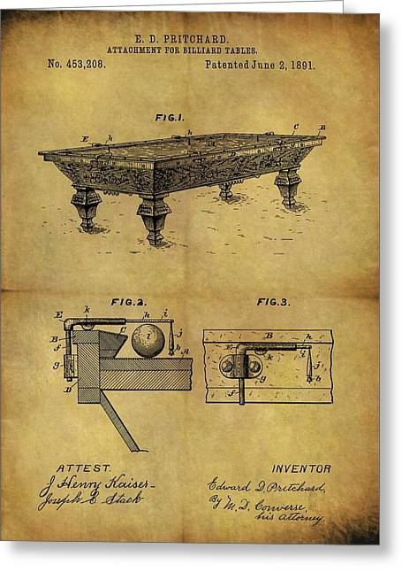 1891 Billiards Table Patent Greeting Card by Dan Sproul