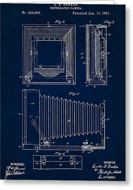 1891 Camera Us Patent Invention Drawing - Dark Blue Greeting Card