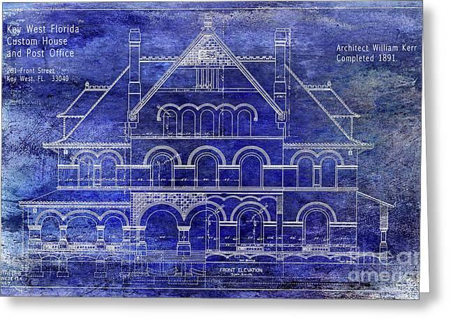 1891 Key West Custom House Blueprint Greeting Card by Jon Neidert