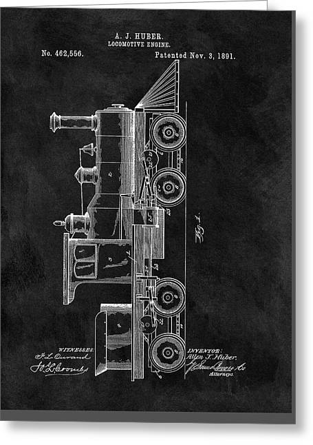 1891 Locomotive Engine Patent Greeting Card by Dan Sproul