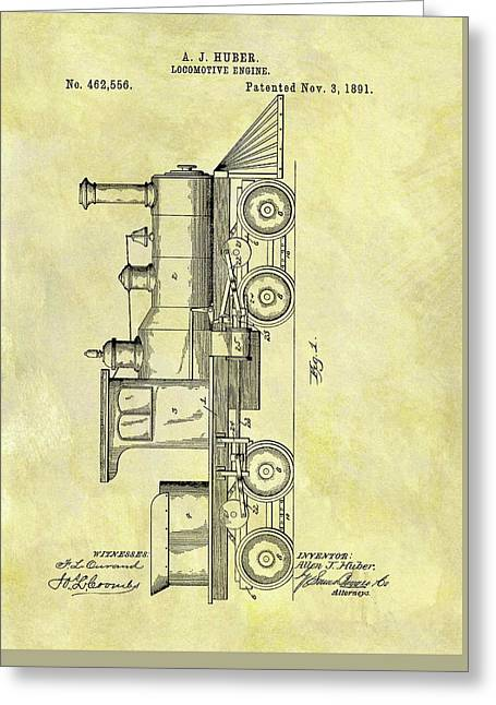 1891 Locomotive Patent Greeting Card by Dan Sproul