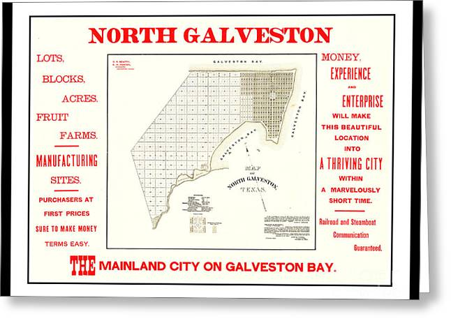 Greeting Card featuring the drawing 1891 North Galveston Texas Promotional Land Development Poster by Peter Gumaer Ogden