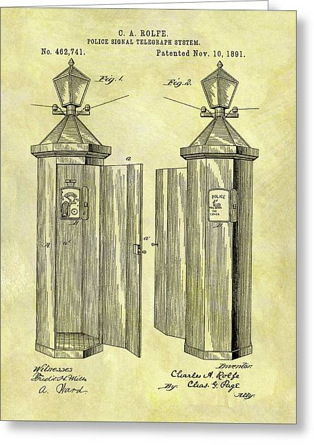 1891 Police Call Box Patent Greeting Card by Dan Sproul