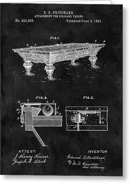 1891 Pool Table Patent Greeting Card by Dan Sproul